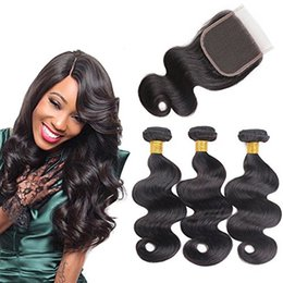 Discount high quality body wave hair - 9A Remy Human Hair Bundles With Lace Closure High Quality Brazilian Virgin Hair 3 Bundles With Closure And Baby Hair Bod