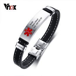 Medical Alert Jewelry NZ - Vnox Personlized Medical Alert ID Bracelet for Men Stainless Steel Identification Tag Genuine Leather Emergency Male Jewelry