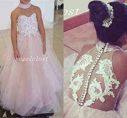 $enCountryForm.capitalKeyWord NZ - Sweet Pink Puffy Flower Girl Dresses High Neck Floor Length Appliques Child Birthday Party Gowns Girls Pageant Dress First Communion Wear