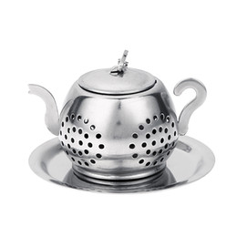stainless teapot infuser wholesale Canada - Stainless Steel Tea Infuser Teapot Tray Spice Tea Strainer Herbal Filter Teaware Accessories Kitchen Tools tea infuser