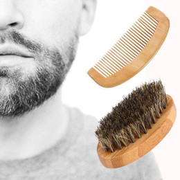 boar combs Australia - Men Boar Hair Bristle Beard Mustache Brush Comb Hard Oval Wood Handle Styling Accessory Free shipping