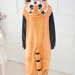 sexy onesie costumes 2021 - Cartoon Animal Raccoon Pajamas Flannel Winter Autumn Women Men Unisex Adults Homewear party Costume Onesie Sleepwear