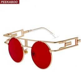 6ebe87b873 Peekaboo vintage gótico steampunk gafas de sol hombres retro redondo marco  de metal amarillo círculo rojo gafas de sol para mujeres unisex uv400