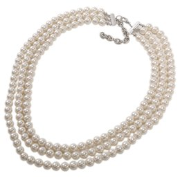 $enCountryForm.capitalKeyWord UK - Kalse 3 Layers Strand Glitter Pearl White Beads Chunky Bib Choker Charm Necklace