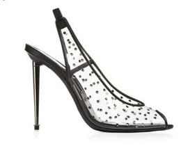 ad1d9476e Limpar Transparente PVC Stiletto Heels Mulheres Sandálias Peep Toe Sapatos  de Salto Alto Mulheres Sapatos Elastic Slingback Mulheres Bombas