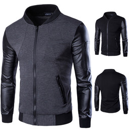 Wholesale outerwear for sale for sale - Group buy Patchwork Leather Bomber Jacket Men Coats Men Outerwear Autumn Slim Fit Male Motorcycle Cardigan Stand Collar Jackets for Men Hot Sale