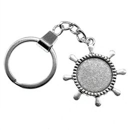 Discount anchor cabochon 6 Pieces Key Chain Women Key Rings Couple Keychain For Keys Rudder Single Side Inner Size 20mm Round Cabochon Cameo Base Tray Bezel Blank