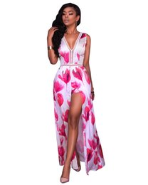 sexy party jumpsuit women UK - MAYFULL women sexy floral print leisure evening party pants jumpsuit lady bohemian loose split full length jumpsuit pant brand