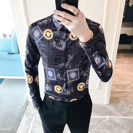 Button downs online shopping - Gold Black White Shirt Baroque Party Prom Social UK Club Shirts For Men Fashon xl Printed Shirt Men Casual Long Sleeve Srping