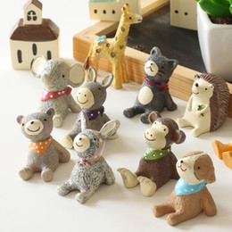 Discount clay blocks - Small Animal Shape Resin Ornament Originality Collection Gift Lovely Bear Monkey Arts And Crafts Starry Sky Groceries Ho