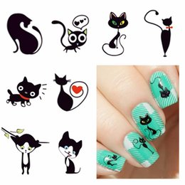 cute sweet nails 2019 - WUF 1 Sheet Optional New Fashion Lovely Sweet Water Transfer 3D Grey Cute Cat Nail Art Sticker Full Wraps Nails Decal DI