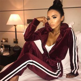$enCountryForm.capitalKeyWord NZ - Women Striped Sportswear Tracksuit 2 Piece Coveralls Drawstring Full Sleeve Long Pant With Pockets Jumpsuit Plus Size 2XL