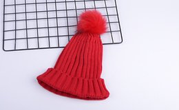 $enCountryForm.capitalKeyWord Canada - Big Girl Winter Warm Knitted Hat Solid Color Faux Fur Ball Beanie Crochet Knitting Caps Mother Woman Hats