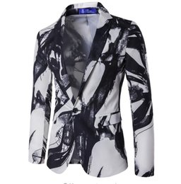 $enCountryForm.capitalKeyWord UK - Mens Floral Blazer Slim Fit Single Button Ink Printed Jacket Autumn Thin Suit Chinese Style Ink Painting Vintage Suits Formal