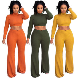 style tracksuits UK - Navel Bare New Style Women Two Pieces Sets Solid Long Sleeve Bodysuit Slim Sexy Club Body Tracksuits High Neck Feminino 2 PIECES Pants