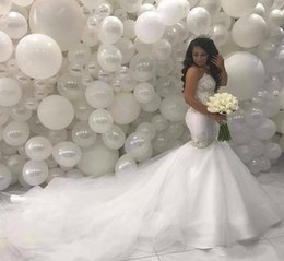 Bead sweetheart mermaid wedding dress tulle online shopping - Arabic Middle East Mermaid Wedding Dresses Sweetheart Beading Lace Court Train Ivory Vintage Bridal Gowns BA8884