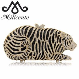Discount hollow diamond shape - Milisente Women Evening Bags Ladies Tiger Shape Crystal Clutch Bag Female Gold Clutches Purses