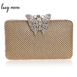 Discount decoration purses - Luxury Diamond Gold Color Evening Bags Clutch Bag For Women Elegant Butterfly Decoration Lady Clutches For Wedding Party