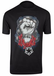 Neck Gear Australia - Tribal Gear Fist Fashion Personality Originality Graphic Tee Shirt Men's Round Neck Short Sleeves Cotton T-Shirt Top