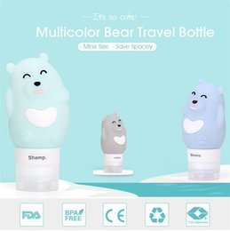 liquid bottle design 2019 - Cute Little Bear Design 80ML Silica Gel Bottles Liquid Cosmetics Travel Packaging Seal Up Colorful Bottling cheap liquid