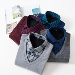 $enCountryForm.capitalKeyWord Canada - Fake Two Warm Shirts Men Plus Velvet Business Outside Wear Body Pure Color Grey Blue Red Black Shirt