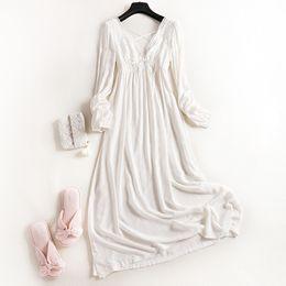 New Wonen 100% Algodão Princesa Real Longo Pijama de Renda Branca Camisola Outono Longo-Luva Sleepwear Ladies pijamas Treino venda por atacado