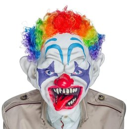 Discount kids scary costumes - H&D Horror Clown Mask with Colorful Hair Scary Clown Mask for Adults Kids Halloween Costume Props