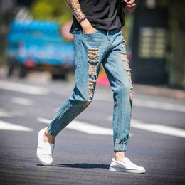 3f64b37da2c #1410 Summer ripped jeans men 2018 Ankle-length Streetwear Casual Harem  jeans Cheap hommes Bikers Skinny Pantalon hombre