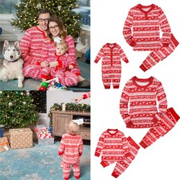 45d9687ca5 Christmas Kids Adults Family Matching Deer Snowflake Striped Pajamas  Nightwear Xmas Parents-Child Pyjamas Bedgown Nightwear 2pcs Outfit 2018