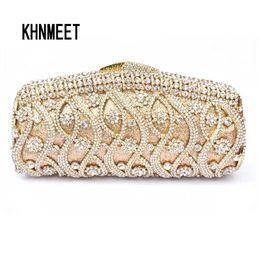 golden crystal evening bags 2019 - Golden Luxury crystal evening bag women prom clutch bag party pochette women diamante clutches wedding handbags day Clut