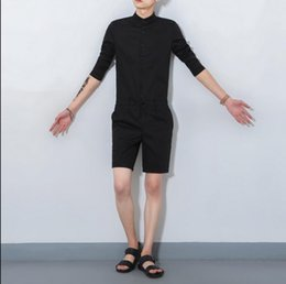 $enCountryForm.capitalKeyWord NZ - Free shipping Summer Khaki Cargo Pants Fashion Bib Boyfriend Jumpsuits Men Korean style singer costumes Overalls 041606