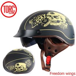 Pink Half Helmet NZ - TORC T55 vintage motorcycle helmet retro scooter half helmet with Built-in lens visor casco moto helm moto capacete para DOT