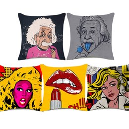 China Jim Morrison Einstein Portrait Cushion Covers Pop Style Audrey Hepburn Sofa Pillow Cover Thick Linen Cotton Pillow Case Bedroom Decoration suppliers