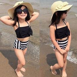 Baby Girl Summer Suits Australia - Fashion kids girls swimmers bathers clothes kids baby girls bikini suit summer kids halter striped swimwaer swimming clothes