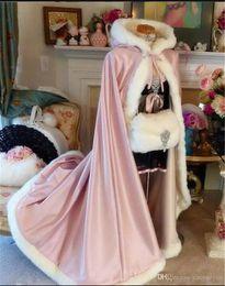 $enCountryForm.capitalKeyWord Australia - 2019 High Quality Winter Bridal Cloak Jacket Long Cape Tippet Shawl Coat Bolero Fabric Custom Made with Faux Fur Chapel Train White