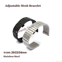 $enCountryForm.capitalKeyWord Canada - 20 22 24mm Stainless Steel Watch Band Shark Mesh Bracelets Adjustable Dive Watch Band WIth Butterfly Buckles Free Shipping