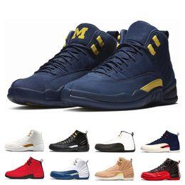 huge discount 9cd89 1811d 2018 12 12s men basketball shoes Bulls Michigan College Navy UNC NYC Vachetta  Tan Wheat Dark Grey Bordeaux playoffs Flu Game Sports sneakers