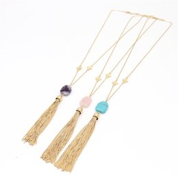 natural stone tassel necklaces UK - BOHO Amethyst Turquoise Natural Stone Pendant Tassel Necklace Druzy Quartz Crystal Gold Plated Long Chain Necklace Geometric Women Jewelry