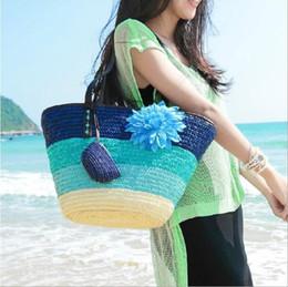 $enCountryForm.capitalKeyWord Canada - Knitted Straw Bag Summer Flower Bohemia Fashion Women's Handbags Color Stripes Shoulder Bags Beach Bag Big Tote Bags