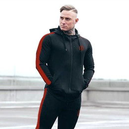 wide belts men 2019 - Men's wear 2018 muscle brothers, autumn winter new sweater jacket, men'sgym fitness long sleeved hooded zipper
