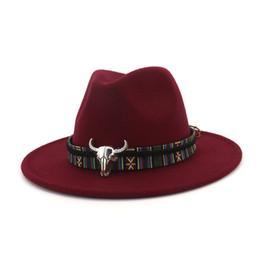7d8c9f4e Unisex Wide Brim Cowboy Fedora Hat Bull Head Decoration Men Women Wool Felt  Trilby Gambler Hats Jazz Panama Caps