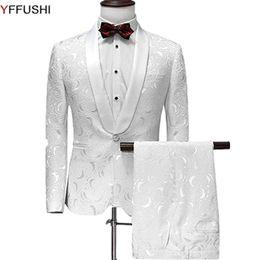 13683040c YFFUSHI Hombres Traje de Un Botón 2 Unidades Trajes de Jacquard Blancos con  Pantalones de Esmoquin Chal Chal de Boda para Hombres Vestido de Fiesta ...