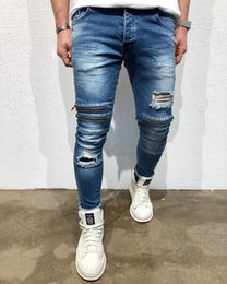 Pencil Fit Trousers For Men Canada - Knee Holes Jeans for Men Fashion Slim Fit Ripped Pencil Pants Punk Rap Male Trousers