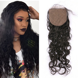 Wavy Hair Middle Part Australia - Silk Base Closure Wet And Wavy Human Hair Closures Free Middle Three Part Virgin Indian Wavy Hair Closures
