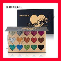 Silky eyeShadow online shopping - shape heart Beauty Glazed palette Colors Glitter Eyeshadow Palette Makeup Contour Metallic Silky Powder pressed glitter palette dhl free