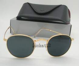 Sun Glasses Black Australia - Mens Womens Round Sunglasses Eyewear Sun Glasses Gold Metal Frame Black 50mm Glass Lenses Come With All Accessories