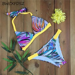 crochet swimming Canada - wholesale Crochet Bikini Swimwear Women Swimsuit Biquini 2018 Print Halter Swimming Bathing Suit Beach Swim Wear Bather Bikinis