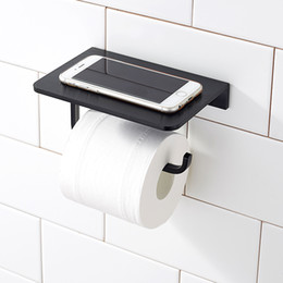 Discount wall mount phone holder Silver Black Space Aluminum Paper Holder with Mobile Phone Shelf Toilet Paper Holder Waterproof Wall Mounted Bathroom To