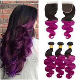 $enCountryForm.capitalKeyWord Australia - Body Wave #1B Purple Ombre Brazilian Human Hair Bundles Deals with Closure Dark Root Purple Ombre Human Hair Weaves with 4x4 Lace Closure