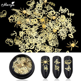 Metal spider charMs online shopping - Monja Box Nail Art Ultra Thin Charms Flakes Pattern Design Umbrella Spider Butterfly D Metal Sequins DIY Decorations